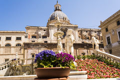 Statues in Piazza Pretoria, Square of Shame at Palermo, Sicily Stock Photos