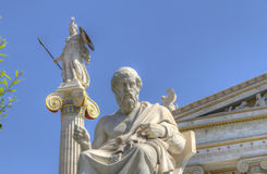 Statues of Plato and Athena  Academy of Athens Royalty Free Stock Photo