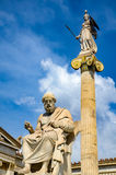 Statues of Plato and the goddess Athena at the entrance of the Academy of Athens royalty free stock images