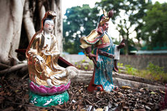 Statues of popular Chinese gods Guanyin and Guan Yu, Hong Kong Stock Image