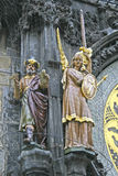 Statues on Prague Astronomical Clock on Old Town City Hall, Prague, Czech Republic Stock Images