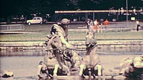 Paris 1970s Versailles statues. Statues of the Quadriga in the Apollo fountain at Palace of Versailles garden in 1976. Historic archival footage in Paris city of stock footage