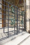 Statues on the railing of Saint Vitus cathedral at Royalty Free Stock Photos