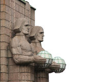 Statues at the railway station in Helsinki. Royalty Free Stock Images