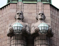 Statues at the railway station in Helsinki. Royalty Free Stock Photography