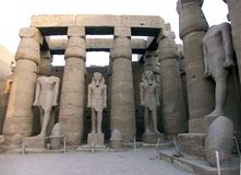 Statues of Ramses The Great. Ramses statues at the Luxor Temple, Egypt stock photos
