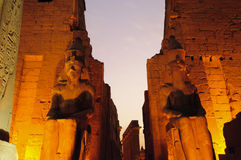 Statues of Ramses II at Luxor Temple. Luxor, Egypt. Statues of Ramses II at Luxor Temple at night. Luxor, Egypt royalty free stock photo