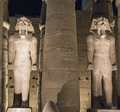 Statues of Ramses II at Luxor Temple in night Royalty Free Stock Photo