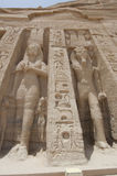Statues of Ramses II and Nefertari at Abu Simbel Stock Photography
