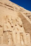 The statues of Ramsses The Great at Abu Simbel in Aswan Egypt. Egyptian civilization history well preserved at one of the most well known Egyptian temples in stock photo