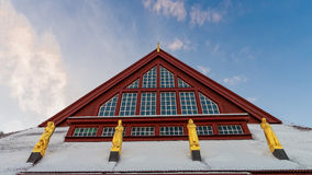 Statues of the red Church in Kiruna, Sweden Royalty Free Stock Image