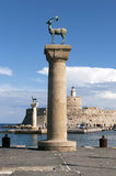 Statues in Rhodes harbor Royalty Free Stock Image