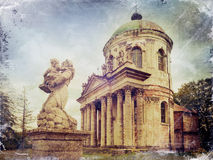 Statues and Roman Catholic church of the Exaltation of the Holy Royalty Free Stock Photo