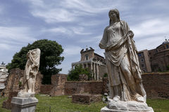 Statues on roman forum Stock Images