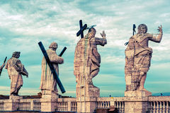 Statues on the roof of the Cathedral of St. Peter in Rome Royalty Free Stock Image