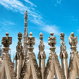 Statues on the roof of famous Milan Cathedral Duomo Stock Photography