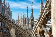 Statues on the roof of famous Milan Cathedral Duomo Royalty Free Stock Images