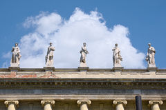 Statues on roof of Museum of Ethnography in Budapest, Hungary. BUDAPEST, HUNGARY - JUNE 14, 2016: Statues on roof of Museum of Ethnography in Budapest, Hungary Stock Photos