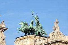 Statues on roof of Museum of Ethnography in Budapest. Hungary. The building located at Kossuth Square, across from the Hungarian Parliament royalty free stock photography
