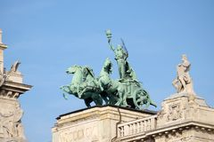 Statues on roof of Museum of Ethnography in Budapest. Hungary. The building located at Kossuth Square, across from the Hungarian Parliament stock photos