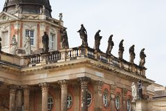 Statues on the roof of New Palace Sanssouci Royalty Free Stock Photography