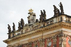 Statues on the roof of New Palace Sanssouci Stock Photos