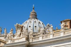 Statues on the roof of St. Peter Cathedral in Stock Photography