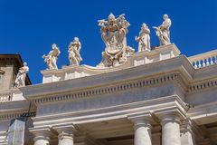 Statues on the roof of St. Peter Cathedral in Stock Photo