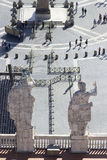 Statues on the roof of St. Peter`s basilica Stock Photos