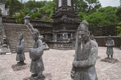 Statues in Khai Dinh tomb in Hue Vietnam stock images