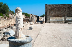 Statues in ruins of ancient theater in Salamis Stock Images