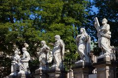 Statues at Church of the Apostles in Krakow stock photos