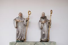 Statues of Saints in the Church of Saint Bartholomew in Leutershausen, Germany.  royalty free stock photography