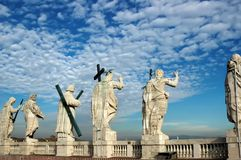 Statues of Saints of the Colonial of St. Peter in Rome royalty free stock photo