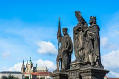 Statues of Saints Norbert, Wenceslaus and Sigismund on Charles B. Prague, Czech Republic: Statues of Saints Norbert, Wenceslaus and Sigismund outdoor sculptures royalty free stock photo