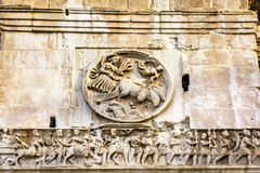 Statues Sculpture Arch of Constantine Rome Italy. Arch built in 315 AD to celebrate Emperor Constantine`s victory in 312 over co-emperor Maxenntius Stock Images