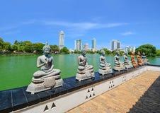 The Statues Of Seema Malakaya At The Gangarama Temple In Sri Lanka Royalty Free Stock Image