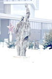 Statues in snow in Museum of Socialist Art Royalty Free Stock Image
