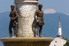 Statues of soldiers with swords in Skopje, Republic of Macedonia stock photos