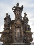 Statues St. Barbara, St. Margaret and St. Elizabeth on the Charles Bridge in Prague, Czech Republic Royalty Free Stock Image