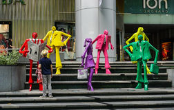Statues for street decorations in Singapore Stock Photos