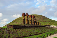 Statues sur Isla de Pascua Rapa Nui Île de Pâques Threesome Photos stock