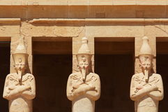 Statues surrounding the main entrance of Temple of Queen Hatshepsut in Luxor. Stock Images