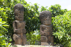 Statues Tahiti Island. Two statues (replica) in Tahiti, French Polynesia, Pacufic Ocean stock photo