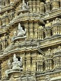 Statues on the temple dome. Inricate carvings of religious figures on the dome of Chamunda Temple, the Hindu Temple, at Mysore, India Stock Images