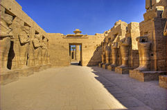 Statues in the temple of Ramses III. At Karnak Stock Photo