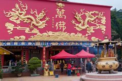 Statues at Ten Thousand Buddhas stock images