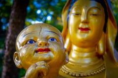 Statues at Ten Thousand Buddhas Monastery in Sha Tin, Hong Kong, China. Impressive golden statues at Ten Thousand Buddhas Monastery in Sha Tin, Hong Kong, China royalty free stock images