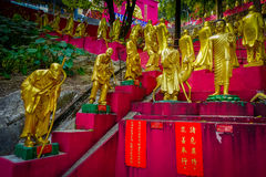 Statues at Ten Thousand Buddhas Monastery in Sha Tin, Hong Kong, China. royalty free stock photo