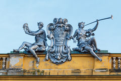 Statues on the theater of Zagreb, Croatia. Male and femal statue on the national theater of Zagreb, Croatia stock photography